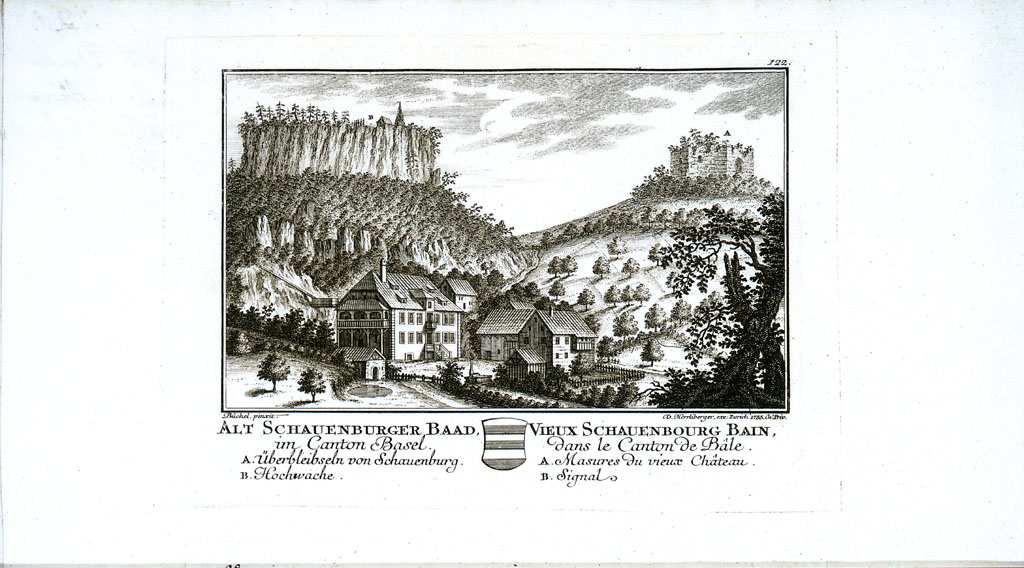 Historische Ansicht der Burgruine. Burgruine Neu Schauenburg, Frenkendorf BL, CH.