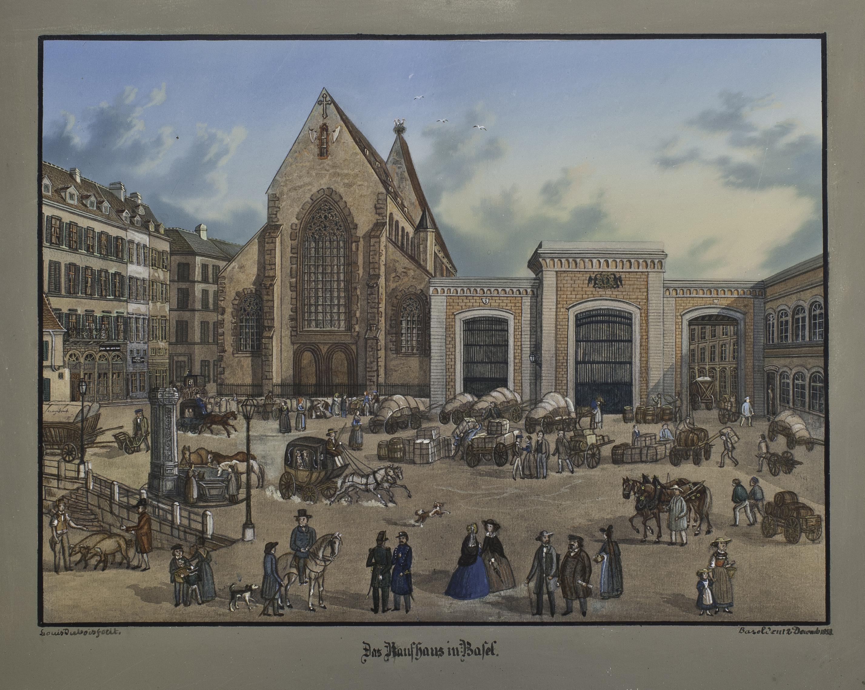 Das Kaufhaus in der Barfüsserkirche, 1853.